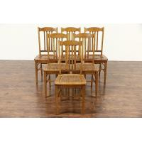 Buy cheap Set of 6 Oak Antique 1915 Dining Chairs, Caned Seats from wholesalers