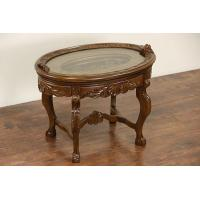Buy cheap Carved 1930's Vintage Coffee Table, Glass Tray Top product