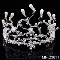 Buy cheap Handmade Bridal Wedding Tiara With Crystal Pearl Gold Wedding Hair Accessory Jewelry from wholesalers