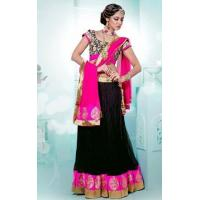 Buy cheap Lehenga Pink & Black Designer Lehenga - DIF 32395 from wholesalers