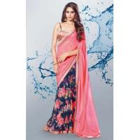 Buy cheap Navy Blue & Pink Georgette Printed Saree - PAV 11 from wholesalers