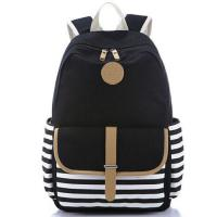 Buy cheap Backpack Fashion black color strips woman school bag from wholesalers