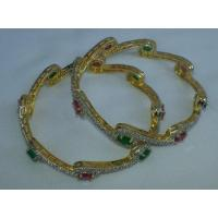 Buy cheap Gold Plated bangles with stones work , set of two pcs J0101 from wholesalers