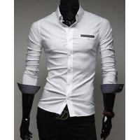 Buy cheap Men White Cotton Blends Shirt Men's Clothing from wholesalers