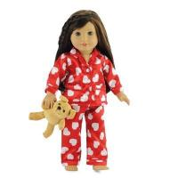 Buy cheap 18-inch Doll Clothes - Red Heart Style Pajamas/PJs plus Teddy Bear - fits American Girl  Dolls from wholesalers