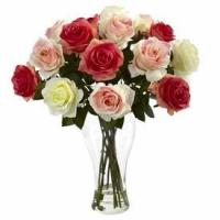 Buy cheap Assorted Pastels Blooming Roses Silk Flower Arrangement with Vase from wholesalers