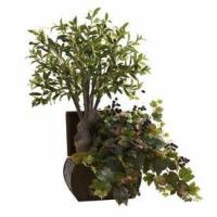 Buy cheap Olive Tree & Grape Leaf Silk Plant with Chest from wholesalers