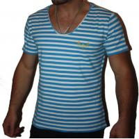 Buy cheap Blue And White Stripe Tonic Scoop Mens t-shirt from wholesalers