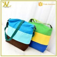 Buy cheap 2015 stripe canvas bag messenger bag lady, trendy canvas sling bags for women from wholesalers