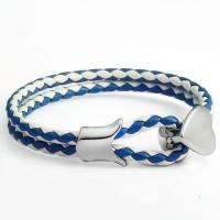 Buy cheap CATEGORIES Braided 4mm Round Blue White Leather Cord Bracelet 8 Inch from wholesalers