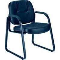 Area seating ofm genuine black leather guest reception chair with arms