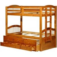 Buy cheap Triplet Honey Pine Bunk Bed with Trundle and 3 Drawers from wholesalers