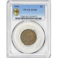 Buy cheap 1866 Two-Cent Piece PCGS XF-40 BN from wholesalers