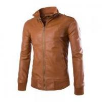 Buy cheap New Men's leather motorcycle jacket Slim washed leather jacket Coat from wholesalers