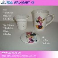 Buy cheap decal ceramic tea cups with lid and strainer from wholesalers