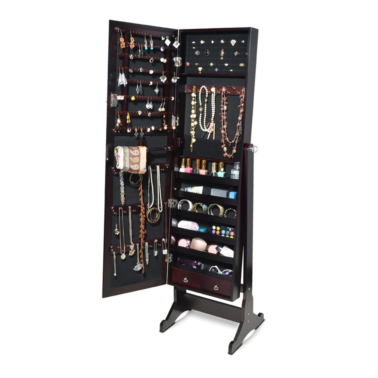Buy cheap Black Mirrored Jewelry Armoire Organizer Cabinet Chest W Stand from wholesalers
