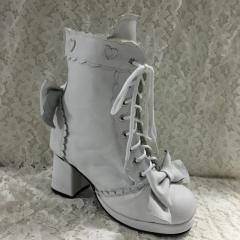 Quality Lolita Long Coats Antaina Sweet White Real Cow Leather Lolita Heels Boots for sale