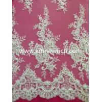 Buy cheap beaded sequined lace fabric high-end lace fabric with beading and cording from wholesalers