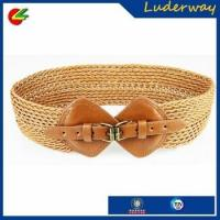 New wide lady girl female weave adjustable cheap brown plaited leather waist belt
