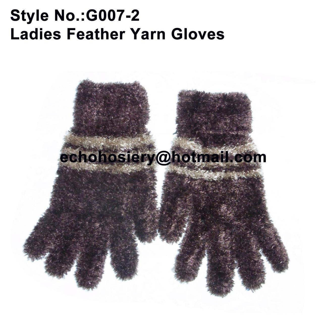 Buy cheap Gloves G007-2--Women Stripe Feather Yarn Gloves from wholesalers