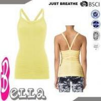 Buy cheap lemon yellow bright color summer OEM seamless yoga tank top with built in bra from wholesalers