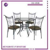 Buy cheap Antique cheap round glass top metal dining table and chair set for sale from wholesalers