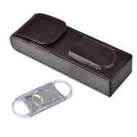 Cigar Cuter Pocket Magnet Close PU Leather Cohiba Cigar Case Wholesale