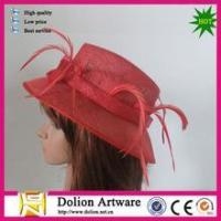 Buy cheap cheap ladies red color sinamay fascinator hats with cocktail for wedding from wholesalers