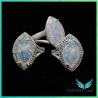 Buy cheap Gemstone Wholesale marquise shape white synthetic fire opal rings jewellery from wholesalers
