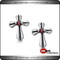 Buy cheap Men's Gothic Punk Thai Silver Cross Shapen CZ Silver Stud Earring With Zricon product