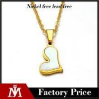 Factory cheap high polishing 18k gold charm stainless steel shell heart necklace jewelry for girl