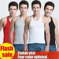 Buy cheap wholesale seamless tank top men t-back singlet underwear 100% cotton white black gray from wholesalers