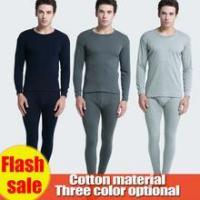 Buy cheap wholesale men long johns underwear 100% cotton light gray/black/gray Sleeping clothes from wholesalers