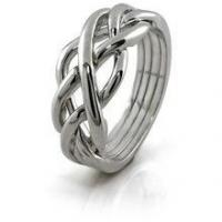Buy cheap Unique Design 925 Sterling Silver Twisted Band Women's Interlocking Stack Puzzle Ring from wholesalers
