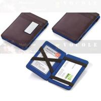 Buy cheap Leather series 100% genuine leather blue money clip wallet magic card holder from wholesalers