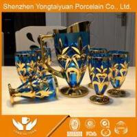 Buy cheap The newest design gold artwork food safe glasswine set from wholesalers