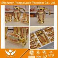 New design tradition yellow color gold plated fine glass decanter