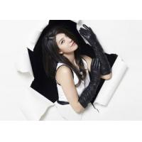 Buy cheap Classic Ladies Long Sheep Lambskin Black Leather Gloves With Viscose Lining product
