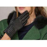 Buy cheap Black Silk Leather Cuff Fashion Leather Gloves , Winter Warm Women Short Gloves from wholesalers
