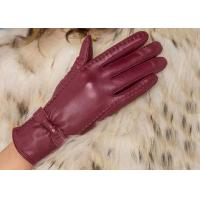 Buy cheap Basic Fashion Multi Color Custom Girls Leather Gloves with Nice Bow Wine Red / Black / Brown product