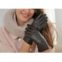 Buy cheap Basic Short Real Sheep Leather Womens Gloves With Embroidery Cuff Black / Red / Brown product