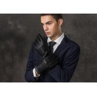 Buy cheap Blue Belt Cuff Black Men Wearing Leather Gloves With Elastic Wrist , Customized Size and Color product