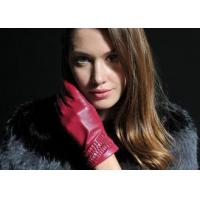 Buy cheap Pleat Veins Cuff Red Sheep Leather Gloves Ladies or Girls Use with Customized Color and Size product