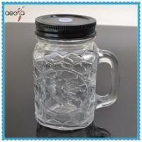 Buy cheap bulk embossed mason jar drinking glass with handle from wholesalers