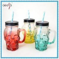 Buy cheap 2016 new style skull shaped glass mason jar with screw lid and straw product
