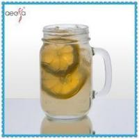 Buy cheap Clear sqaure glass beer mugs with handle and tin lid product