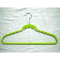 Buy cheap flocked suit hanger with notches,45cm * 23.5cm * 0.55cm , green color,ABS plastic,velvet from wholesalers