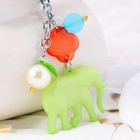 Green color resin elephant shaped keychain wholesale