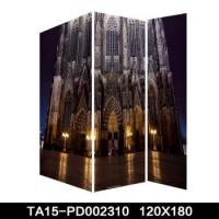 Buy cheap Famous city view folding canvas divider with led light for room decor from wholesalers
