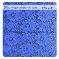 Summer Launch Indigo Blue Corded Lace Fabric , Bridal Floral Lace Fabric